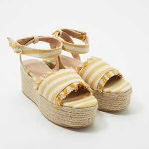 Charlotte Russe NEW yellow striped espadrille sz 8